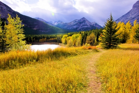 Vibrant colors of the Canadian Rockies during autumn photo