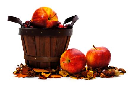 harvest basket: Harvest basket with apples on a white background