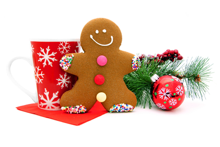 gingerbread: Christmas gingerbread man with festive mug and decor Stock Photo