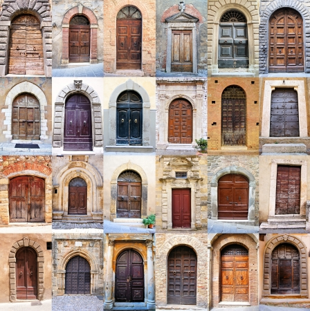 Collage of many old rustic doors from Tuscany, Italy