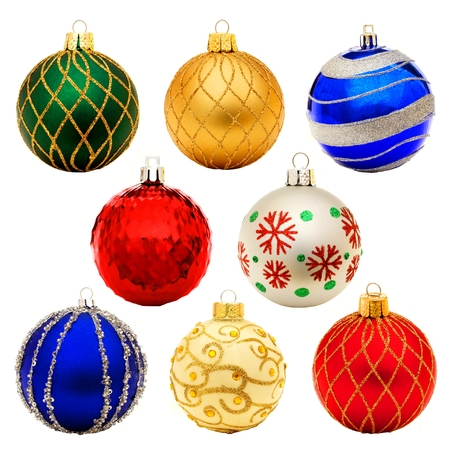 Eight unique Christmas bauble decorations isolated on white Stock Photo