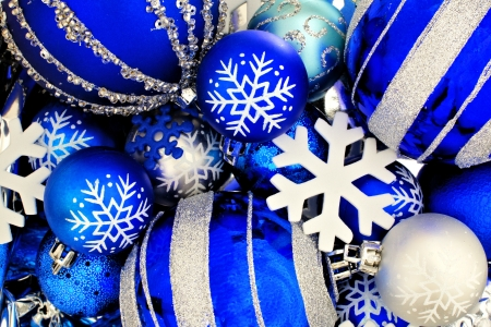 Blue Christmas bauble background with snowflakes photo