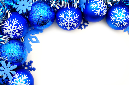 Blue Christmas corner border with baubles and snowflakes Stock Photo