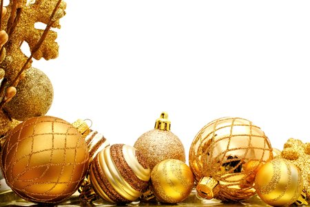 many christmas baubles: Golden Christmas corner border with baubles and branches Stock Photo