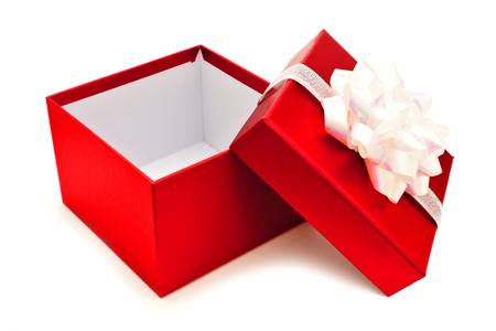 box: Opened red Christmas gift box with white bow and ribbon