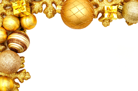 Golden Christmas border of shiny baubles