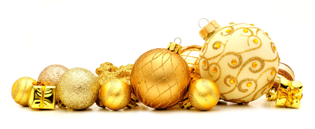 group of christmas baubles: Collection of golden Christmas baubles forming a border
