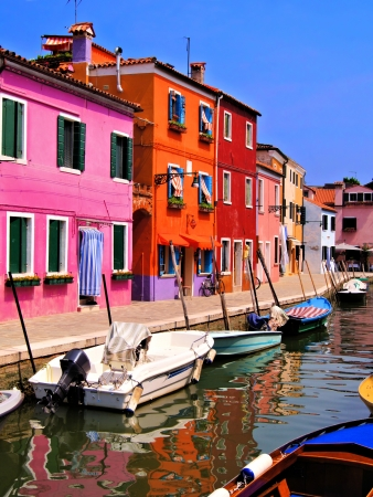 burano: Vibrantly painted houses of Burano, Venice, Italy