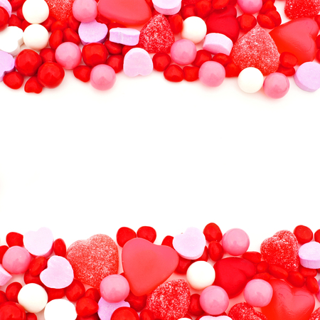 red pink: Valentines Day double edge border of red, pink and white candies Stock Photo
