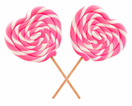 Two Valentines Day lollipops isolated on white Stock Photo