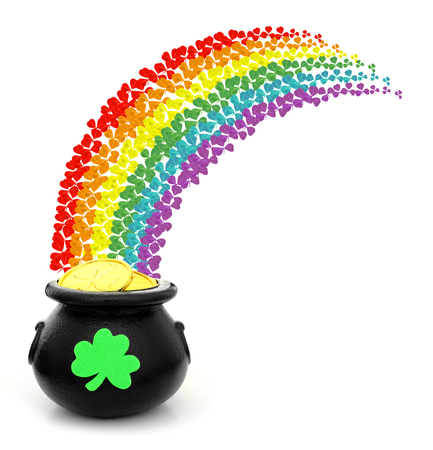 st  paddy's day: St Patricks Day pot of gold with colorful shamrock rainbow Stock Photo