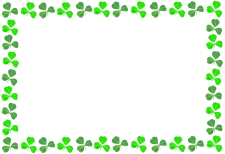 St Patricks Day shamrock frame over a white background photo
