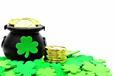 St Patricks Day Pot of Gold and shamrocks over white