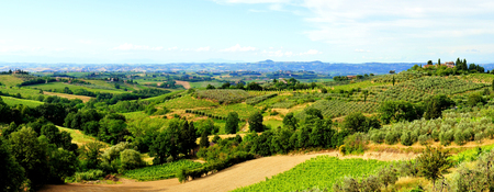 Panoramic view over the countryside of Tuscany, Italy photo