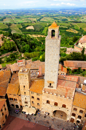 Aerial view of the medieval towers of San Gimignano, Tuscany, Italy