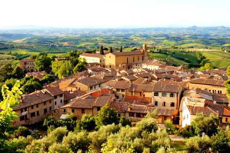 italian village: View over the countryside and the town of San Gimignano, Tuscany, Italy  Stock Photo