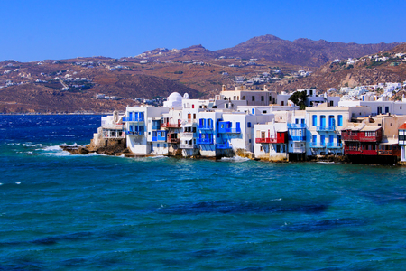 View over the picturesque town of Mykonos, Greece