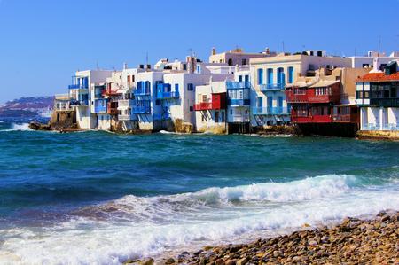 mykonos: View of the Little Venice district of Mykonos, Greece Stock Photo