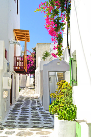 Picturesque street in the old town of Mykonos with flowers, Greece photo