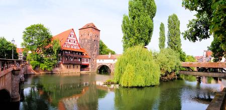 Panoramic view of medieval riverside architecture, Nuremberg  photo