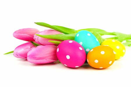 Colorful Easter eggs with pink tulips over a white background photo