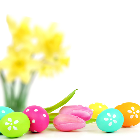 Colorful Easter egg border with abstract floral background photo