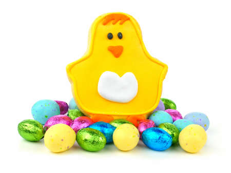 Easter chick cookie with a pile of candy over a white background photo