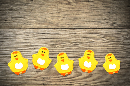 Cute Easter or spring themed chick cookies in a row on a wooden background photo