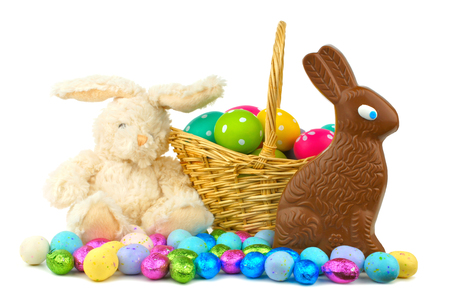 stuffed toy: Collection of Easter candies, eggs and toys over white