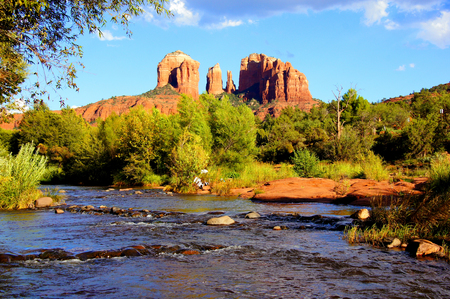 View of Cathedral Rock and river near dusk, Sedona, Arizona, USA