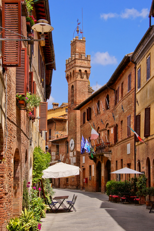 siena italy: Medieval architecture of a small town in Tuscany, Italy