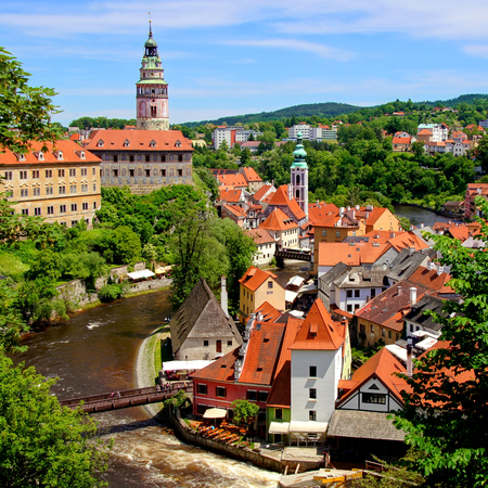 Aerial view over the old town of Cesky Krumlov with castle, Czech Republic