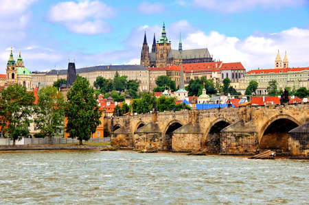 st charles: Prague view with Charles Bridge and castle, Czech Republic Editorial