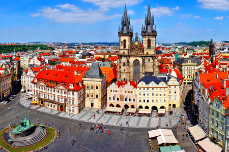 Aerial view over Old Town Square, Prague, Czech Republic