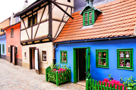 Tiny old houses of Golden Lane, Prague, Czech Republic Stok Fotoğraf