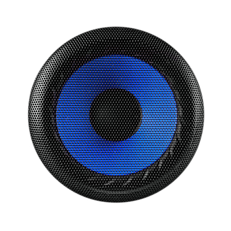 Blue and black speaker sub woofer isolated on white Stock Photo