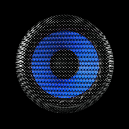 Blue and black speaker sub woofer over a black background Stock Photo - 27064436