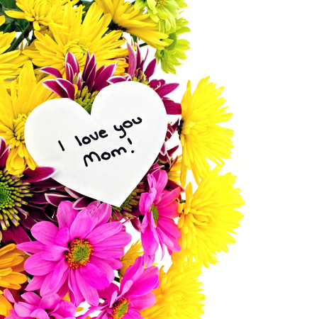 I love you Mom tag among a colorful vertical border of flowers photo