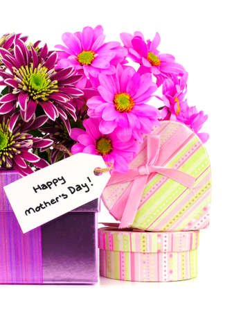 Happy Mother Day tag with colorful flowers and gift boxes photo