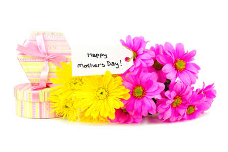 Happy Mothers Day tag with gift boxes and colorful flowers over white  photo