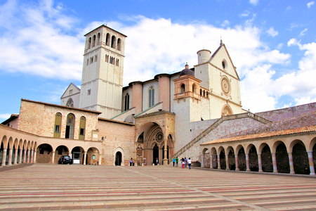 st  francis: View of the famous Basilica of St Francis, Assisi, Italy
