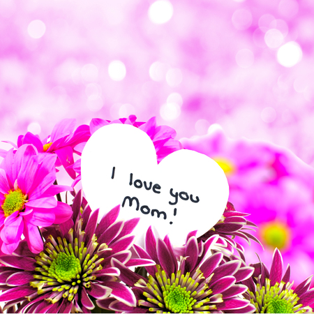 I love you Mom card amongst a bouquet of flowers with twinkling pink  photo