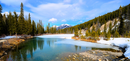 Panorama of a tranquil lake in the Canadian Rockies during early spring photo