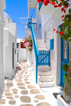 greece: Beautiful white streets of Mykonos, Greece  Stock Photo