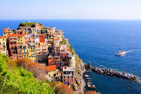 vernazza: Aerial view over a Cinque Terre village on the coast of Italy Stock Photo