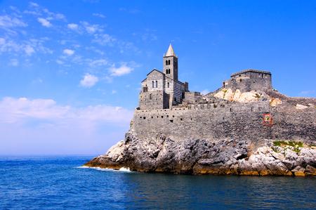 cinque terre: Old church on a rocky coastal outcrop at Portovenere, Italy