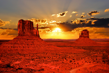Beautiful sunrise over iconic Monument Valley, Arizona, USA photo