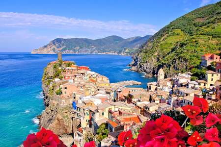 cinque: Vibrant view of a Cinque Terre village along the coast of Italy Stock Photo
