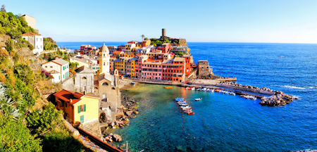 cinque: Panoramic aerial view of a Cinque Terre village along the coast of Italy
