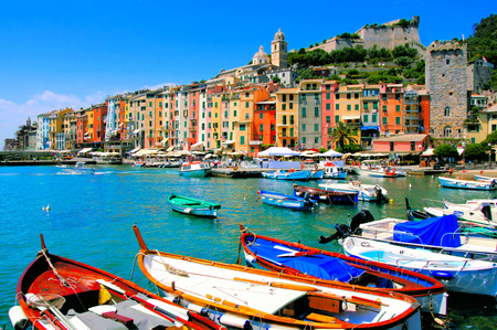 porto: Colorful harbor view at Portovenere, Italy with boats